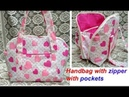 HANDMADE HANDBAG WITH ZIPPER POCKETS CUTTING AND STITCHING SHOULDER BAG