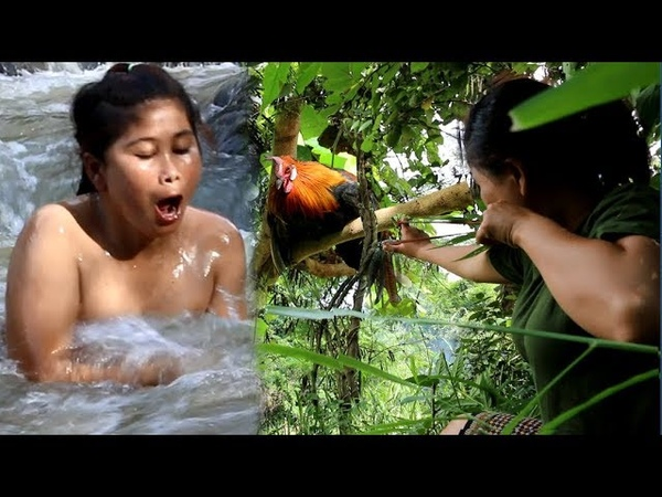 Primitive Technology Shooting Wild Chicken by Girl At river Cooking chicken Eating delicious 76