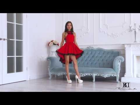 Model Gabrielle red dress presentation, catwalk, posing agency Brima.d