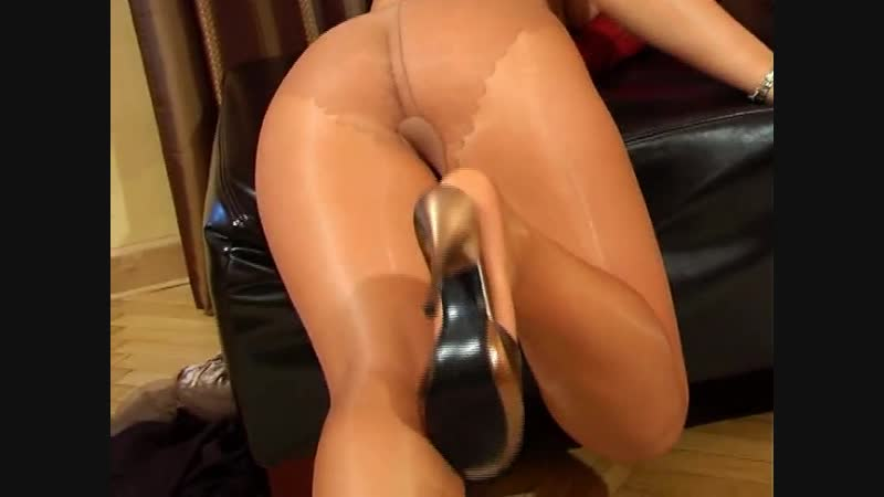 Girl in shiny pantyhose. Tease