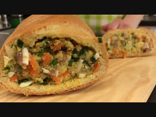 Фаршированный Батон, Очень ПРИКОЛЬНАЯ Закуска _ Stuffed Bread Recipe