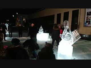 Открытие ледяной скульптуры Омской филармонии к фестивалю