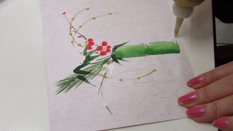 「ほのぼの一筆画」お正月・青竹に松竹梅を活けるWatercolor drawing live shochikui on New Year's bamboo水244
