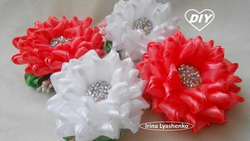 Цветок из органзы на зажим и резинку МК/Канзаши/ DIY Ribbon Flower/PAP Flor da fita199