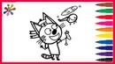 Три котаРаскраски для детеймультикКоржик.Three cats Coloring pages for children cartoon.