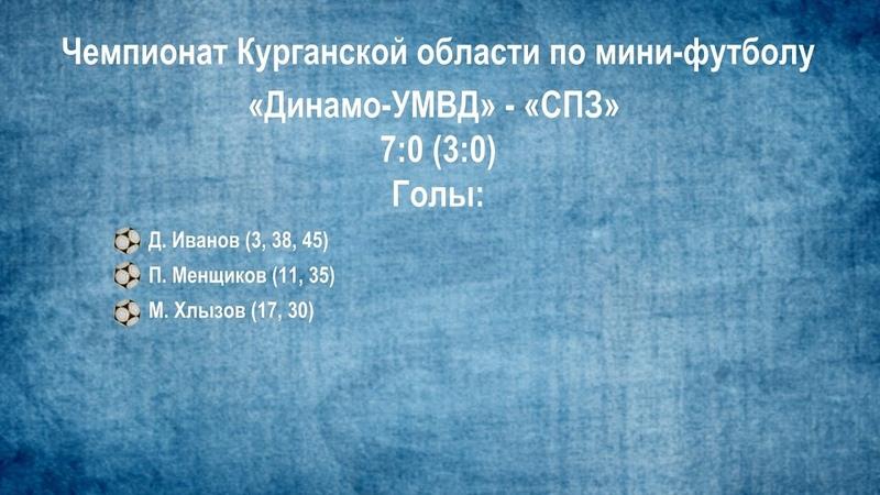 Чемпионат Курганской области по мини-футболу 2018/2019 гг. 8-й тур. «Динамо-УМВД» - «СПЗ» - 7:0