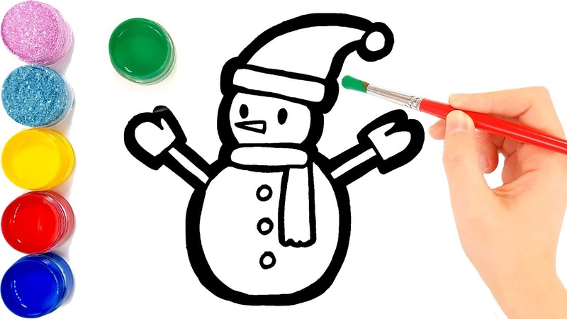 Snowman coloring and drawing for Kids, Toddlers | Jolly Toy Art ☆