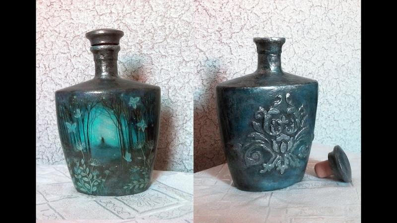 Бутылка с двойным декором Декупаж и рельефный узор