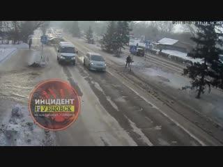 Момент ДТП на пр. Ленина.