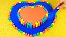 Учим цвета на английском Радужное Двойное Сердце Как сделать из Кинетического песка Слизь для детей