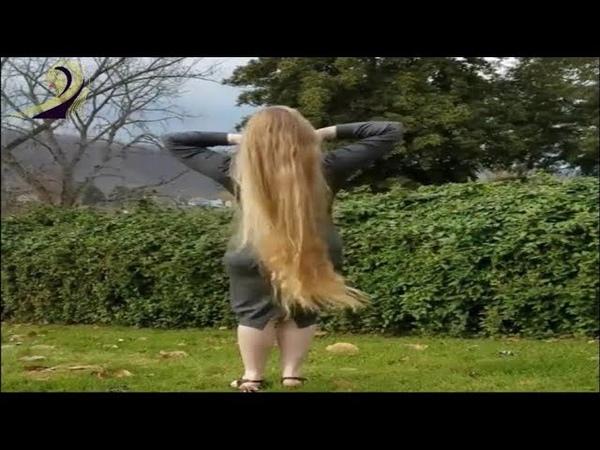 The park has long blond hair hair Silk