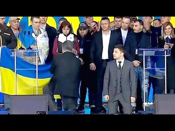 Зеленский и Порошенко встали на КОЛЕНИ! Самые горячие моменты ДEБATOB!