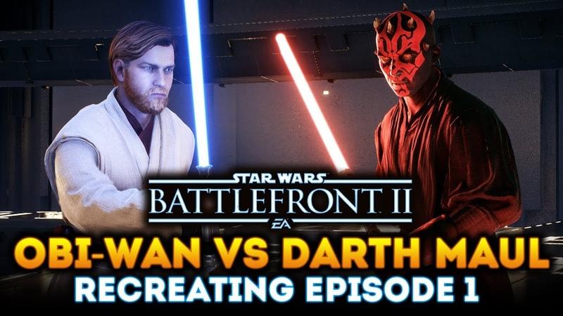 Obi-Wan Kenobi vs Darth Maul! Recreating Episode 1 Lightsaber Duel in Star Wars Battlefront 2!