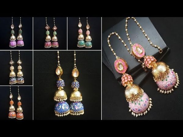 Gold Toned Hand Painted Enamel Fashion Jhumkas Jewellery