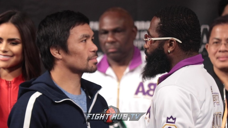 MANNY PACQUIAO AND ADRIEN BRONER FACEOFF AFTER TENSE FINAL PRESS CONFERENCE