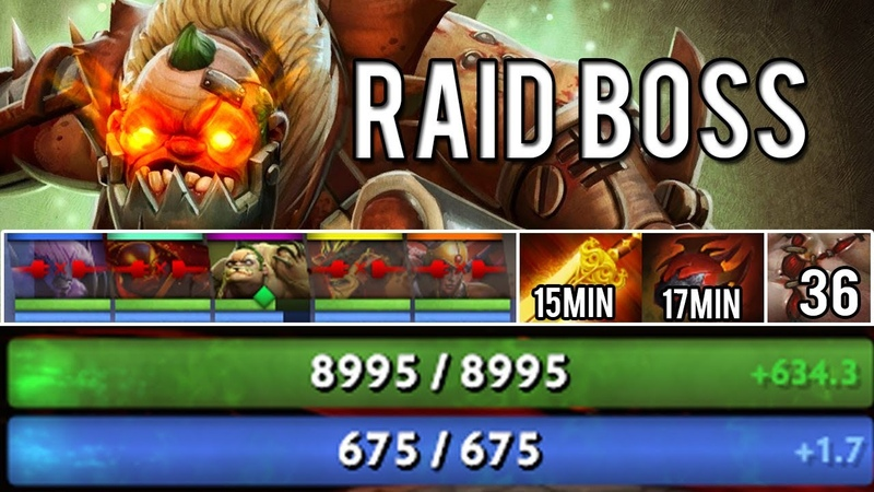 Pudge 1 vs 5 [ALL TEAM LEFT the Game..] RAID BOSS 37 KILLS 9000 HP Dota 2
