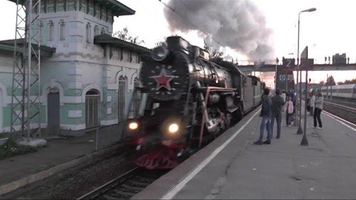 Паровозы Л-2057, П36-0120 с поездом