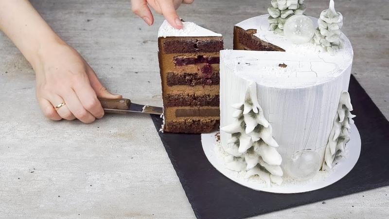 Торт Зимняя сказка (Часть 1). Рецепт взбитого ганаша. Кракелюр на торте