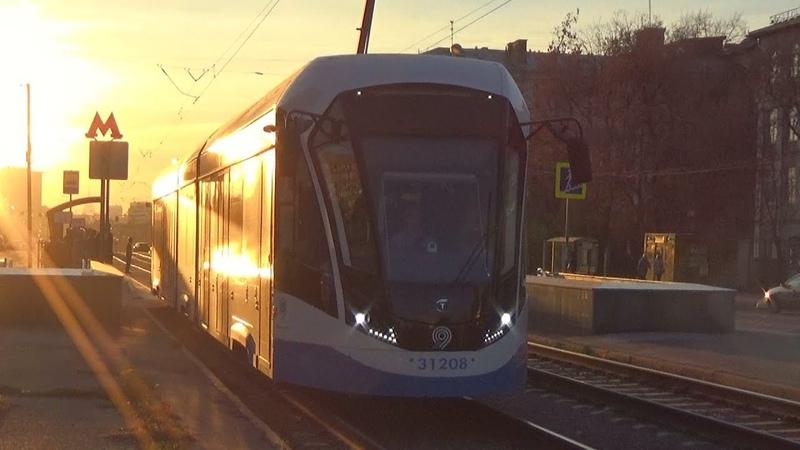 Трамвай 71-931М Витязь-М №31208 с маршрутом №43 Станция Угрешская - Метро Семеновская