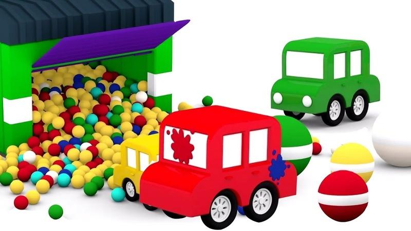 4 carros e as bolas de tintas. Desenho animado de carros.
