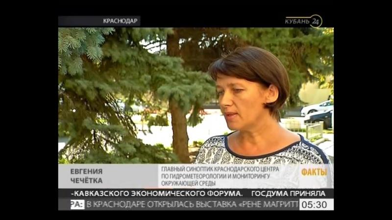 Кубань 24 сообщает- На Кубани 15 и 16 сентября ожидают грозовые дожди, град и шквалистый ветер