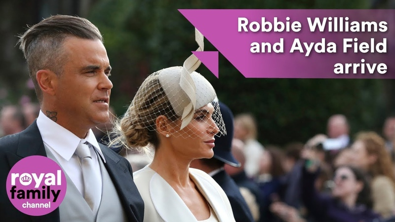 Robbie Williams and Ayda Field arrive at royal wedding