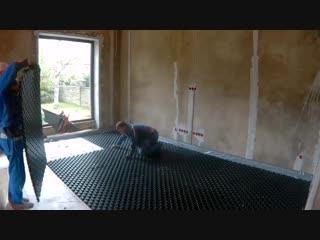 Монтаж труб Рехау. Водяной теплый пол. Процесс монтажа и готовый результат. Баня 160м2