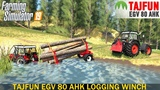 Farming Simulator 19 - TAJFUN EGV 80 AHK Logging Winch With Pulls a Stuck Tractor out of the Lake