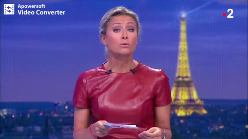 Anne-Sophie Lapix Dark Red Leather Dress