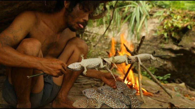Бушмен ловит ящерицу геккона в лесу и гриль геккон ест в пещере