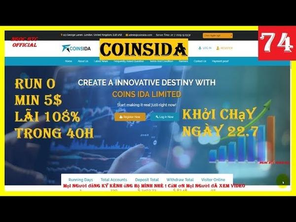 Coinsida | Đầu Tư Site Hyip Hourly Run 0 - Min 5$ - Gốc và Lãi Về Trong 40h