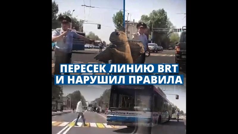 Алматинец пересек линию BRT и грубо нарушил правила прямо перед полицейским