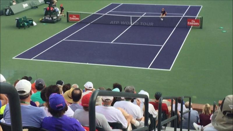 Federer vs Johnson courtside footage - Indian Wells 2017