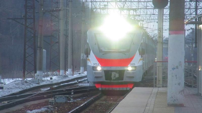 Электропоезд ЭП2Д-0005 ЦППК станция Бекасово-1 16.03.2019