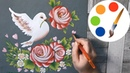 ❤ Valentine's Day ❤ How to paint White Dove and Roses by a flat brush, One Stroke for beginners