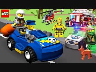 Lego Juniors Quest - Lego Ninjago Lego Police Car, Fire Truck, Construction Vehicles Kids Videos - (aneka.scriptscraft.com) 720p