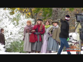 "Emma watson filming ""little women"" with florence pugh, saoirse ronan and eliza scanlen"