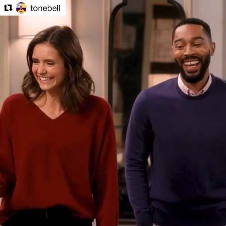 Nina Dobrev on Instagram As you can see we are consummate professionals who NEVER mess up our lines 🙄 Repost @tonebell ・・・ Bloopers from this