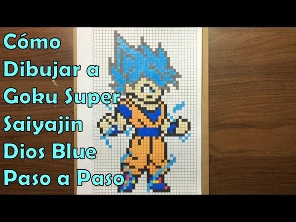 Cómo Dibujar a Goku Super Saiyajin Dios Blue en 8-bit o Pixel Art! TUTORIAL PASO A PASO
