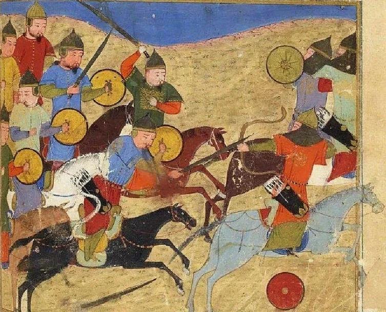 Монгольские всадники. Миниатюра из «Сборника летописей» Рашид ад-Дина, XIV в.