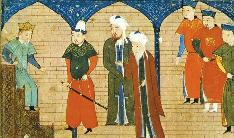 Чингисхан на троне в окружении советников. Миниатюра из «Сборника летописей» Рашид ад-Дина, XIV в.