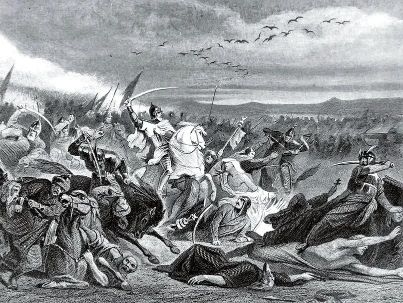 """Литография """"Битва на Калке"""" -- Адольф Ивон, вторая половина XIX века."""