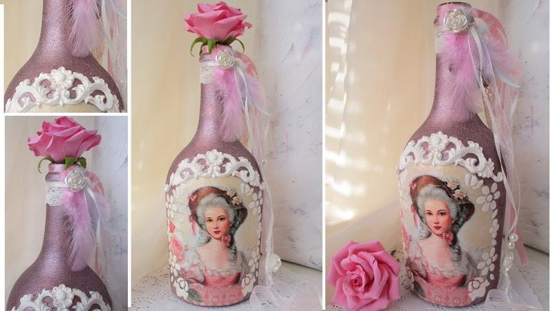 Decoupage Vintage Bottle Art with silicone fondant mold Tutorial DIY