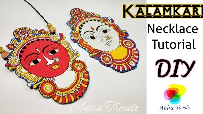 How to make Kalamkari Necklace at Home / Fabric Jewel