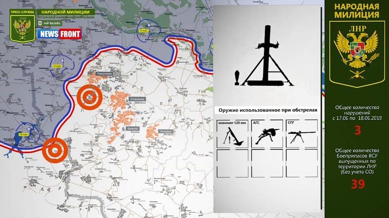 Карта обстрелов 18 июня 2019. Обстановка на линии соприкосновения за сутки