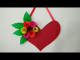 DIY Heart Wall Hangings With Paper FlowerValentine's day room decor ideasMaking Paper roseHeart