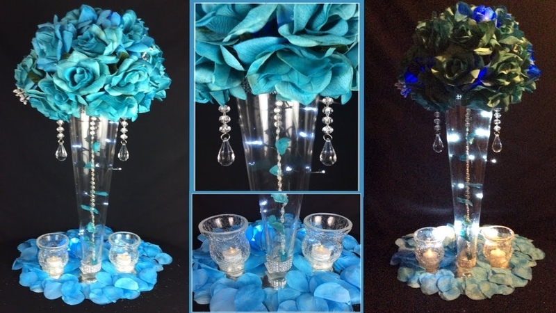 Turquoise Tall Lit Glamorous Wedding Centerpiece / 99 Cent Haul Five Great New Finds