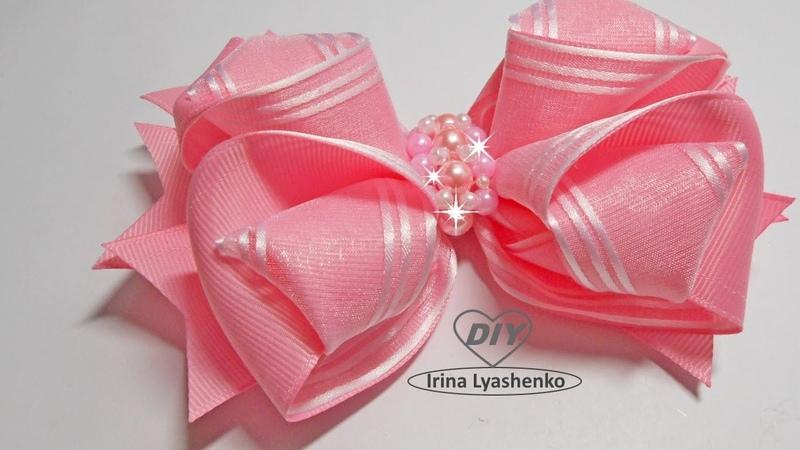 Бант из ленты органзы и репса МК DIY ribbon bow PAP Laço de Fita de Gorgurão 191