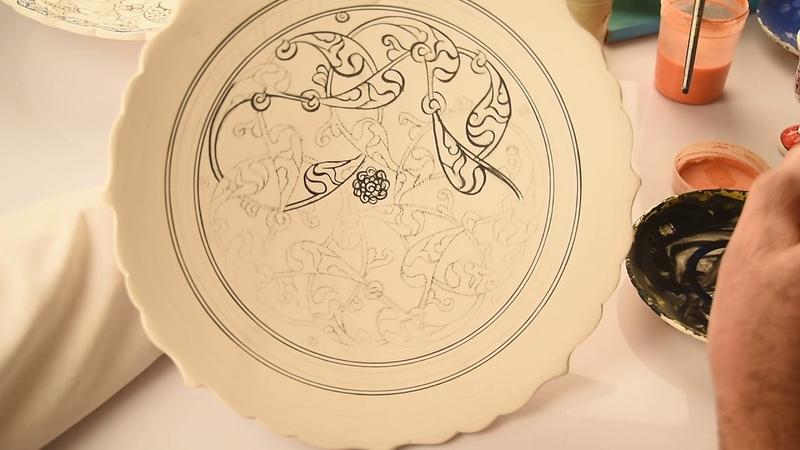 Çini yapımı- Çizim - Turkish Cini- Drawing
