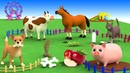 Baby Goes To Supermarket Shopping For Groceries - Farm Animals Names Sounds for Kids